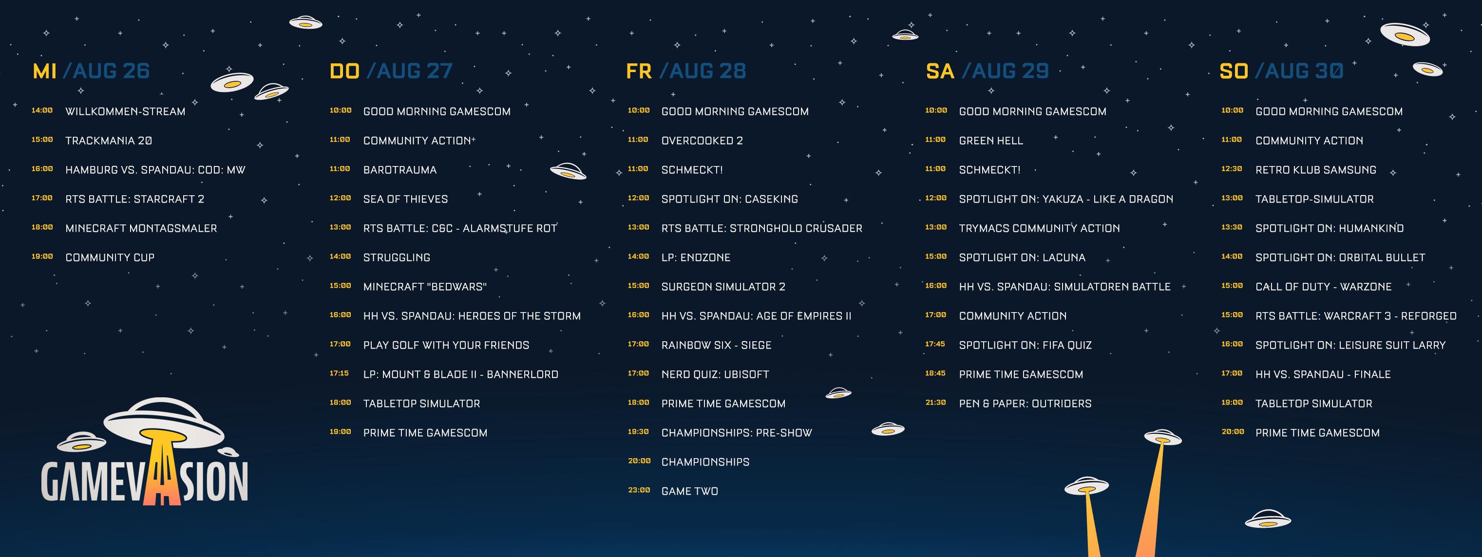 Gamevasion 2020 Schedule